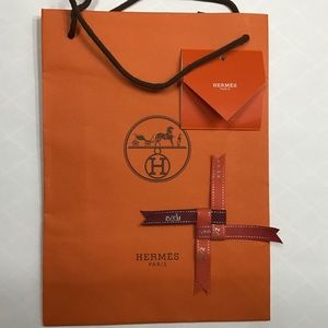 HERMES GIFT BAG WITH GIFT TAG AND BOW